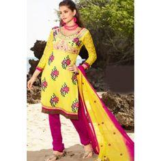 Yellow Net & Faux Georgette Salwar Kameez