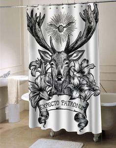 Expecto Patronum Deathly Hallows Harry Potter shower curtain customized design for home decor