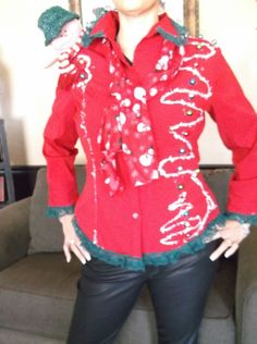 Ugly Christmas Funky & Fun jacket sz M red  with snowman scarf on trim #Handmade #FullZip