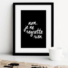 """Printable Art French Decor """"Non Je Ne Regrette Rien"""" Handwriting Style Black and…"""