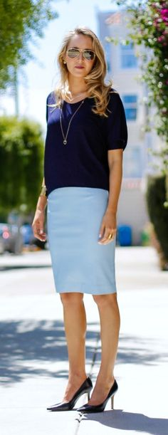 powder blue leather pencil skirt + navy v-neck t + dainty gold jewelry + classic navy pumps