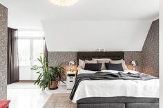 Sandbergs tapet, Bell table lamp, Tom Dixon, master bedroom, sovrum, bäddning