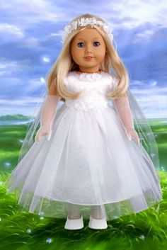 Little Angel - White satin and tule first communion dress for american girl dolls with long gloves, veil and white shoes - 18 Inch Doll Clothes  Price : $25.97 http://www.dreamworldcollections.com/Little-Angel-communion-american-Clothes/dp/B007UJZWUW