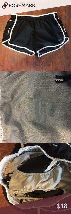 Nike Dri Fit Run Shorts.  EUC Worn a handful of times.  Black Nike running shorts.  Size Large. Nike Shorts