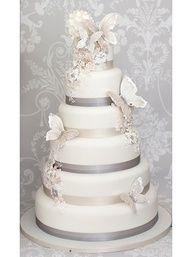 Grey & white butterfly wedding cake