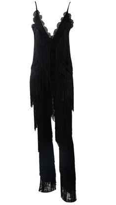 Fringe and lace jumpsuit. #slayaccessories #jumpsuit #romper #fringe #nightout #partywear #fringe #tassels #blackjumpsuit #lbd