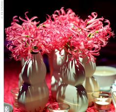 To keep things interesting, five different centerpieces decorated the 45 tables: Urns with hydrangeas and bells of Ireland; branches with hanging crystals and bright blooms; cylinders with submerged flowers topped with feathers; fishbowls with floating gerbera daisies; and clay vases with hydrangeas and roses.