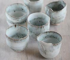 6 Hand Built Cups with Pretty Blue Glaze / Ceramicpix on Etsy
