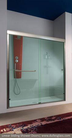 Sliding glass shower doors feature thick tempered glass and top-of-the-line hardware. Take advantage of our design tips to plan your sliding shower project. Shower Sliding Glass Door, Sliding Closet Doors, Sliding Door Design, Room Door Design, Front Door Paint Colors, Painted Front Doors, Modern Front Door, House Front Door, Front Door Makeover