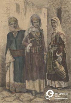 """Engraving Tinted sketches of women with costumes from Megara, Attica, Greece. From """"Illuftrirte Chronit der Beit"""" edition. Greek Traditional Dress, Woman Sketch, Attica Greece, Folklore, Maya, Sketches, Dance, Embroidery, Greek Costumes"""