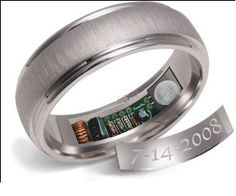 Remember Ring - waterproof, charged by body heat, it lets you know about your anniversary by heating up to 120 degrees for a few seconds once an hour leading up to anniversary.
