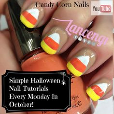 Easy Halloween Nail Art Designs -Candy Corn Nails 2014 Lancengi + Video Tutorial
