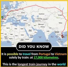 Longest Travel by Train Wierd Facts, Wow Facts, Intresting Facts, Real Facts, Wtf Fun Facts, True Facts, Funny Facts, General Knowledge Facts, Knowledge Quotes