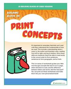 10 Building Blocks of Early Reading. Building Block 10: Print Concepts. Help your child learn about reading books from the inside out. #readingactivities