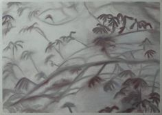 Branches and leaves in foggy cm Pastel Paintings, Painting Gallery, Pastel Drawing, Branches, Still Life, Artworks, Leaves, Landscape, Drawings