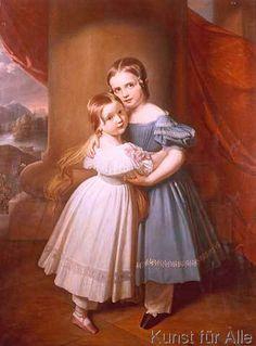 Circa 1833 Carl Christian Vogel von Vogelstein -Prinzessinnen Sidonia und Anna von Sachsen