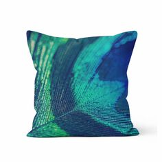 Blue Peacock Feather Decorative Throw Pillow Case - Peacock Home Decor, Peacock feather throw pillow, Peacock Photo Pillow, Christmas Gift, by KaliLainePrintShop on Etsy https://www.etsy.com/listing/212404604/blue-peacock-feather-decorative-throw