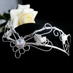 Magical Ethereal Wedding Bridal Circlet in Sterling Silver with Moonstone. $550.00, via Etsy.