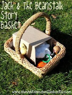 Story Telling Ideas- baskets with puppets and props to recreate the story line or to invite children to act along while you read