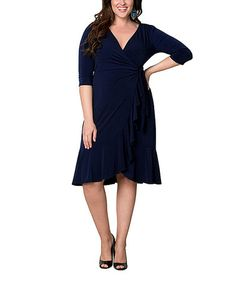 Navy Ruffle Wrap Dress - Plus by KIYONNA #zulilyfinds.  I adore Kiyonna dresses too. Zulily is on fire today!
