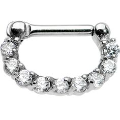 "14 Gauge 1/4"" Surgical Steel Clear CZ Septum Clicker 