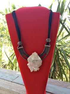Colar de drusa de cristal, Crystal druse necklace