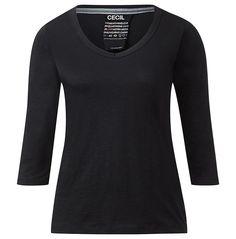 V-Neck-Shirt mit 3/4-Arm    Schlichtes, weiches Flammgarn-Shirt mit 3/4-langen Ärmeln und breit gefasstem V-Ausschnitt von CECIL. Mit seinem schmalen, geraden und etwas kürzeren Schnitt passt dieses Basic Style T-Shirt einfach immer und überall. Es beeindruckt nicht nur durch seinen kombistarken Look in riesiger Uni-Farbauswahl, sondern auch durch das lebendig geflammte, angenehme Baumwollgarn,...
