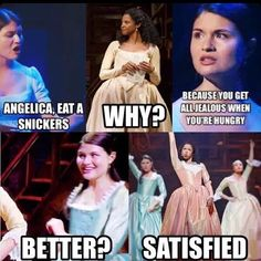 Yeah, remember that snickers commercial they used to play all the time? Yeah, maybe Angelica is satisfied, but Hamilton will never be satisfied! Hamilton Musical, Hamilton Broadway, Alexander Hamilton, Hamilton Fanart, Hamilton Lin Manuel Miranda, All Meme, Def Not, And Peggy, Fandoms
