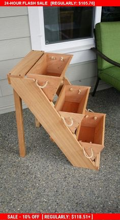 "Ends Sunday New 3 or 4 16"" vertical gardening raised elevated standing planter, cedar planter, herb planter, garden, gardening kale,..."