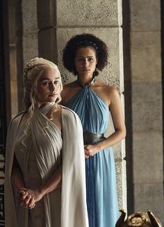 Emilia Clarke & Nathalie Emmanuel in 'Game of Thrones' (2011). x