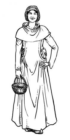 Bürgerliche, Gugel und Höllenfensterkleid über einer Cotte, Haarnetz am Kopf, Gürteltasche und Besteck am Gürtel, der typischerweise unterm Höllenfensterkleid getragen wird. Historical Clothing, Medieval, Costumes, History, Clothes, Style, Fashion, Snood, Ladies Clothes