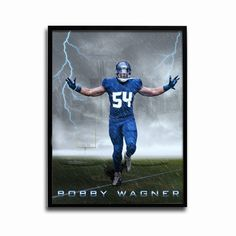 Seattle Seahawks Bobby Wagner Storm 24x18 Football Poster