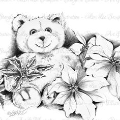 My pencil sketch of this cute stuffed teddy bear and Poinsettia flowers can be used as a digital stamp or 'as is' for your holiday paper craft projects.