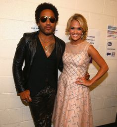 Carrie Underwood and Lenny Kravitz- Backstage at the CMT Music Awards