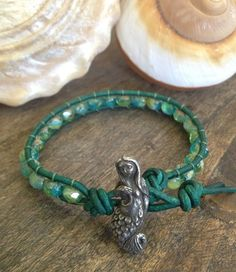 "Mermaid Leather Wrap Bracelet ""Beach Chic"" Surfer Girl Jewelry, Endless Summer $30.00"