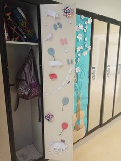 Locker design: a collection of origami pigs over the length of a year