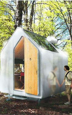 Diogene is a wooden hut, designed for single-person occupancy. Eight by 10 feet, allowing just enough room for a bed, chair, and small table. It's both self-sustaining and mobile, with pv solar cells, rainwater tank, composting toilet and all-natural ventilation system keeps the house entirely off the grid.  Named for the Ancient Greek philosopher Diogenes, who chose to live in a barrel.