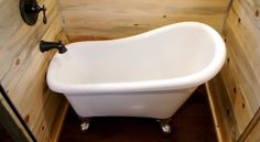 Claw foot tub & shower combo inside a mobile tiny home