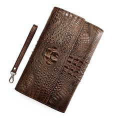 Stylish crocodile clutch bag and crocodile clutch wristlet wallet for men, Every crocodile leather wallet is unique because it is made from the original crocodile leather, not from the embossing pattern cow leather. Cow Leather, Leather Clutch, Leather Totes, Leather Wallets, Leather Bags, Vintage Leather, Leather Purses, Alligator Wallet, Clutch Wallet