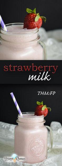 Strawberry Milk :: THM:FP, low carb, low fat, sugar free, gluten/egg/nut free paleo for beginners trim healthy mamas Sugar Free Desserts, Sugar Free Recipes, Low Carb Desserts, Healthy Protein Snacks, Healthy Carbs, Keto Snacks, Healthy Food, Healthy Eating, Trim Healthy Mama