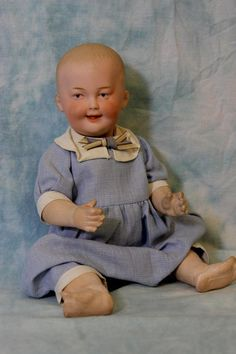 "13"" Antique German Bisque Gebruder Heubach Smiling Character #7647 Doll c. 1912"
