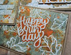 Kath's Blog......diary of the everyday life of a crafter: Simon Says - STAMPtember Blog Party Simon Says, Are You Happy, Party, Birthday Cards, Ss, Blog, Mixed Media, Neon Signs, Leaves