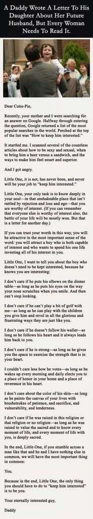 A Daddy Wrote A Letter To His Daughter About Her Future Husband, But Every Woman Needs To Read It. ❤️this