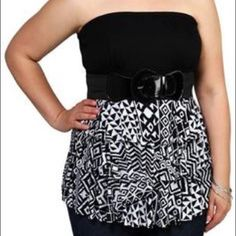Deb tribal print black and white top Only used once. This black and white tube top is adorable and very flattering to the figure. Size 1X. Deb Tops