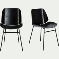 Chaise en bois plaqué - noir - CORDOBA - chaise - alinea Dining Chairs, Furniture, Home Decor, Cordoba, Grey Fabric, Black Metal, Natural Wood, Room, Decoration Home