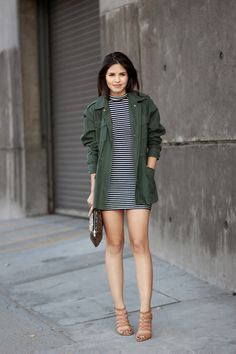 How to Make a Utility Jacket your Wardrobe's Summer MVP | StyleCaster....a sweater coat pair with dress, leggings....multiple looks