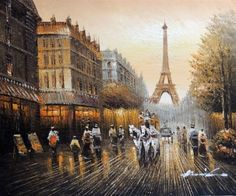 Painting: Paris 1880S Eiffel Tower Shops Horse Drawn Carriage Stretched 20X24 Oil Painting