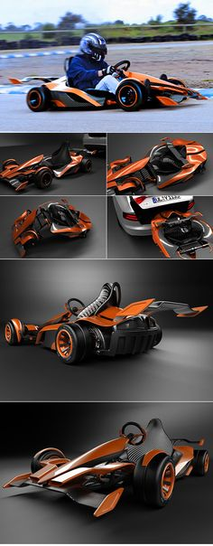 The GK2G (Go Kart 2 Go) is a concept Go-kart by BEAU REID that can actually fold in half allowing the racer to chuck it safely in the trunk of a car. Reaching a high speed of about 60mph due to its low weight carbon fiber chasis and powered entirely by high output lithium batteries.  http://www.velocitykartshop.com.au/