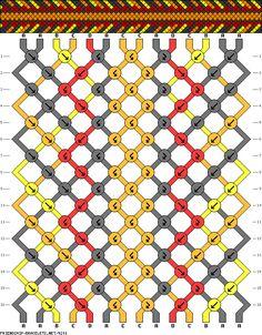 friendship bracelet patterns - 14 strings 16 rows 4 colors