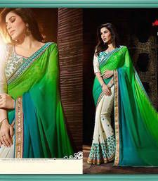 Buy green and Cream embroidered georgette saree with blouse other-actress-saree online